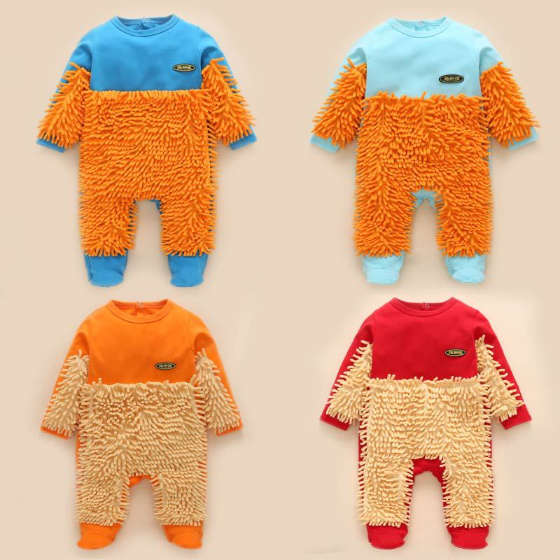 网红婴儿连体衣拖把服春秋装宝宝拖地爬行衣拖地衣擦地衣新品特价