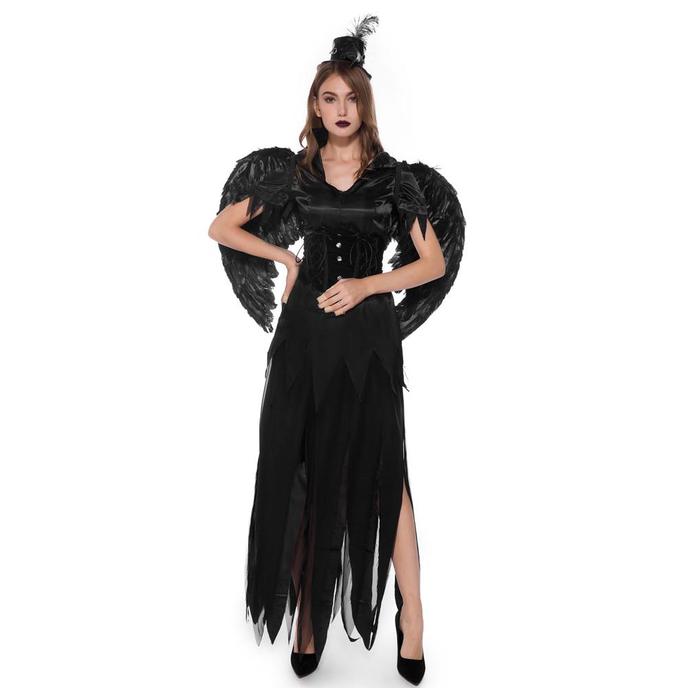 ハロウィンの天使と悪魔の翼は悪魔の吸血鬼の役の扮演服の欧米の化粧する舞踏会の公演の服を詰めます。