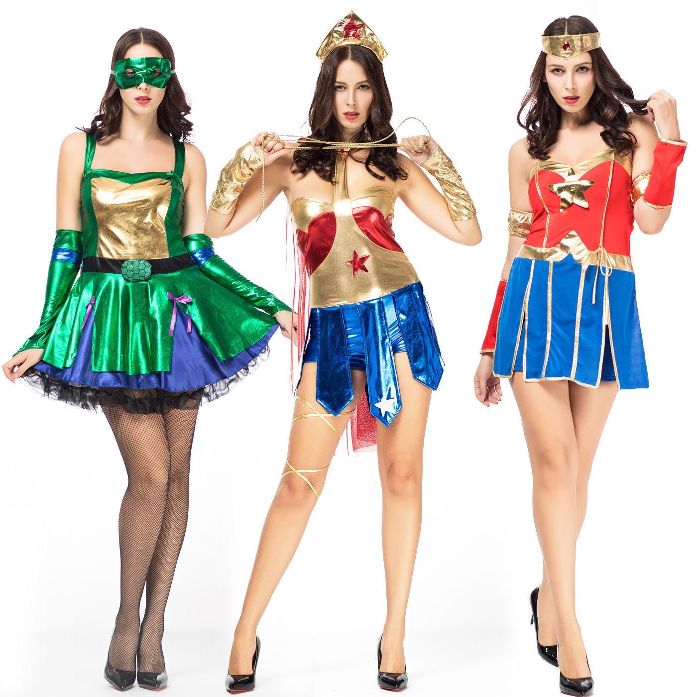 新款万圣节出口制服角色扮演超人连体女飞侠服装 忍者COS装乌龟服