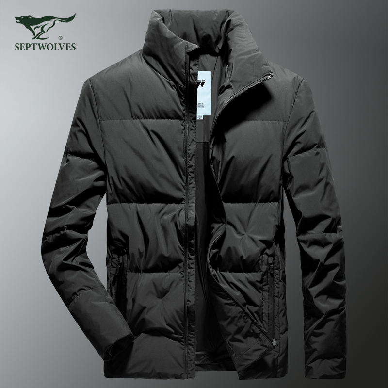 Seven wolves down jacket men's short stand-up collar anti-season sale clearance brand black and white duck down winter jacket men