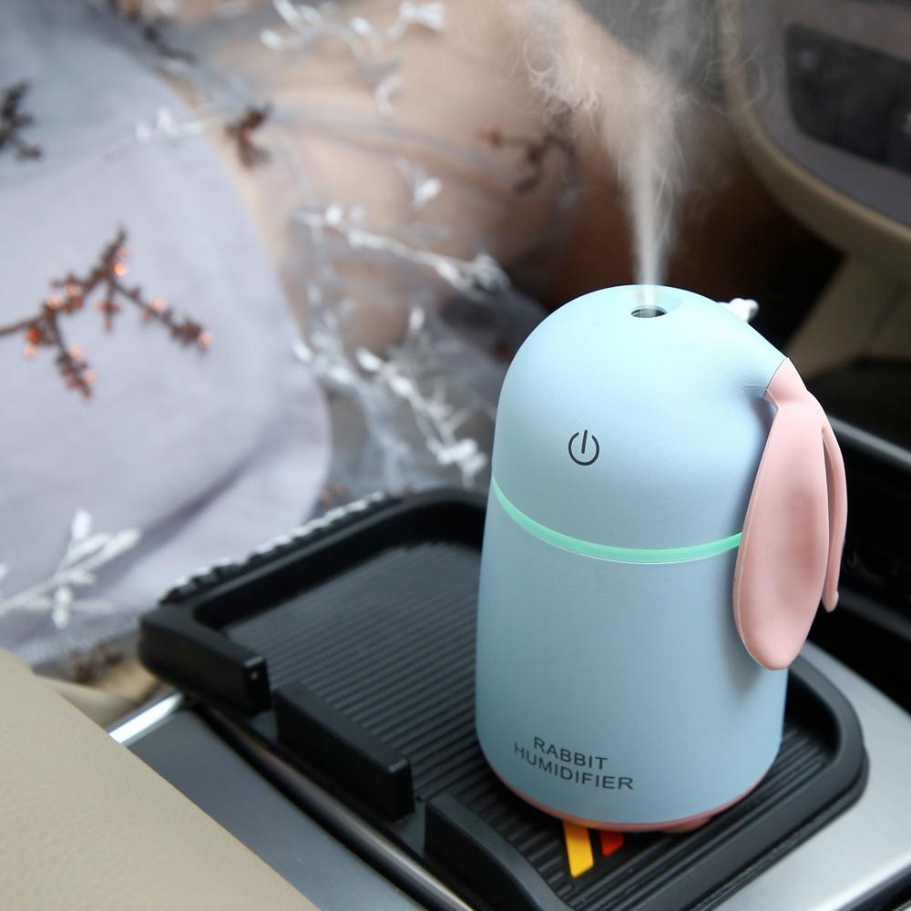 迷你萌兔USB加湿器卡通喷雾车载加湿器家用静音办公桌面女生礼物