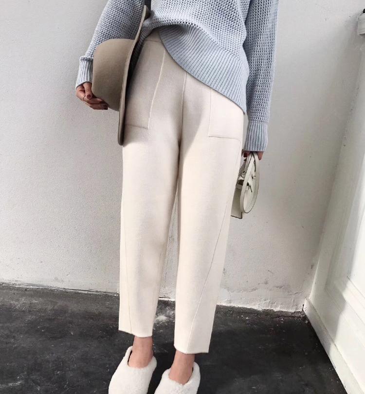 2018秋冬设计师款欧美极简气质大口袋毛针织裤宽松锥型小脚休闲裤