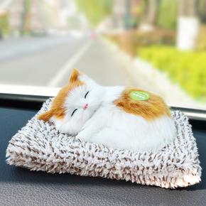 仿真动物竹炭小猫咪玩具毛绒公仔摆件假猫猫会叫车载可爱布偶玩偶