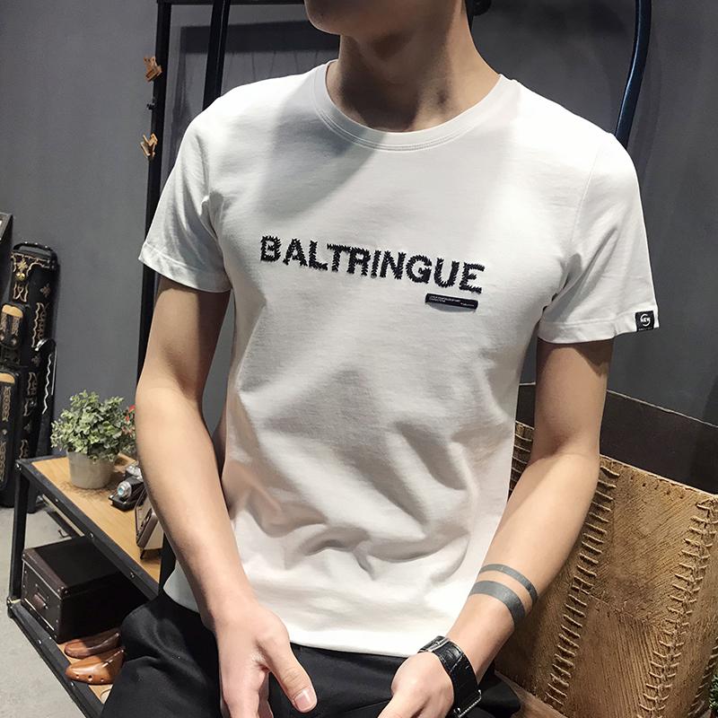 LX 圆领英文短袖时尚刺绣精品简约修身高质量套头半袖T恤男生帅气