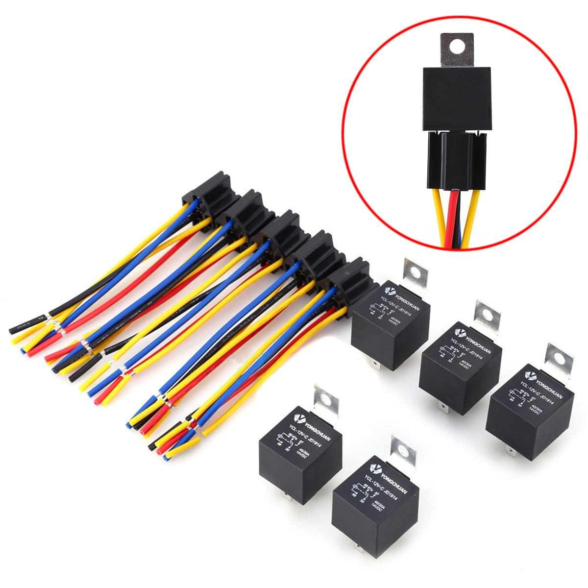 5 Set DC 12V 40A AMP Relay - Socket SPDT 5 Pin 5 Wire YCL-12,可领取元淘宝优惠券