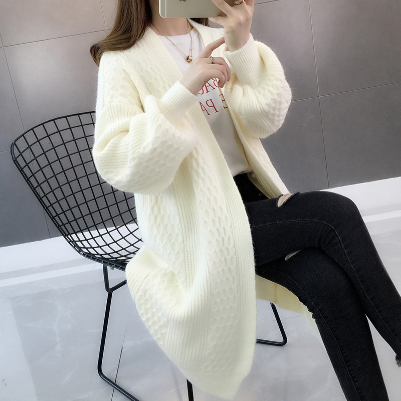 Lantern Sleeve knitted cardigan womens autumn and winter new Korean loose thin medium long solid color three dimensional sweater jacket fashion