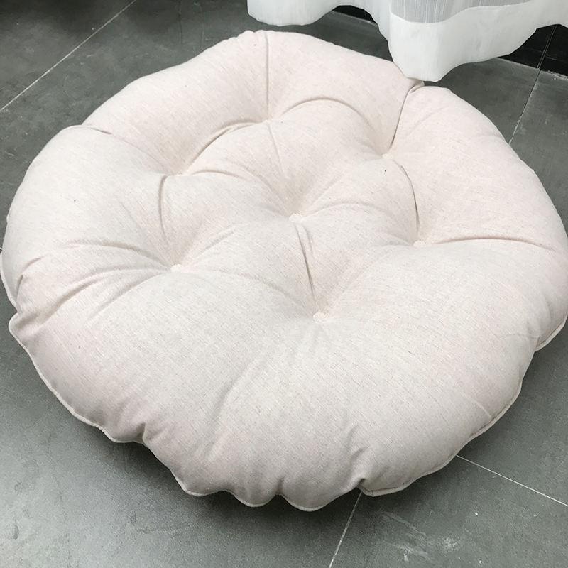 日式棉麻纯色蒲团布艺加大加厚榻榻米坐垫飘窗垫打坐垫学车拜佛