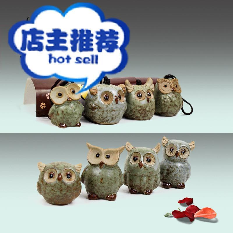 Mini set of 4 owl ornaments, ceramic arts and crafts gifts, European home owl ornaments