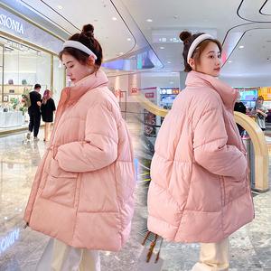 實拍2020年秋冬季新款棉衣女中長款韓版寬松棉服加厚外套女短款潮