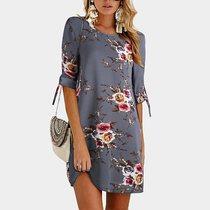 女装欧美夏季新款中袖印花系带胖MM超大码直筒连衣裙