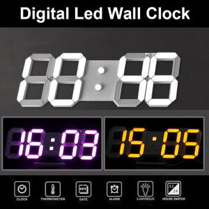 领2元券购买3D Digital LED Wall Clock Night Alarm 12/24 Hour Temperature