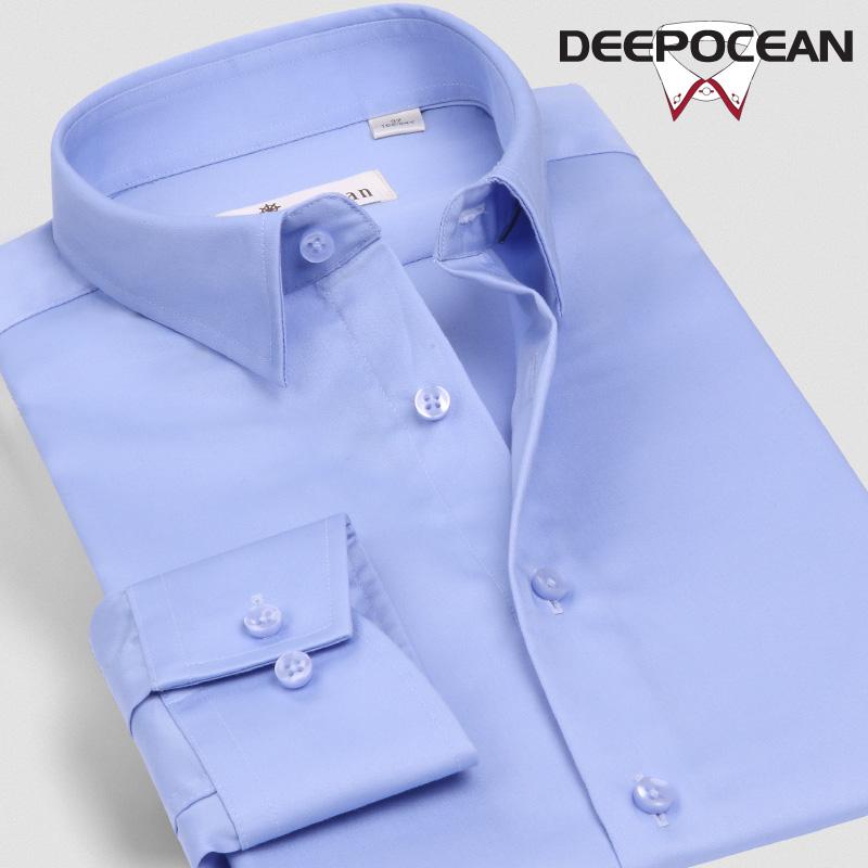 深海纯棉免烫抗皱小领丝光衬衫男长袖修身正装商务西装衬衣男士寸
