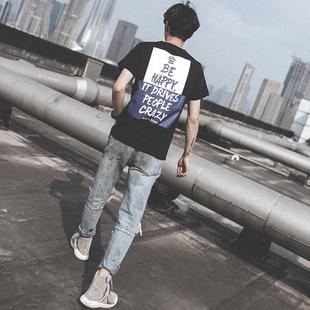 2017 الصيف الجديدة من الشباب الكوري الرجال الرقبة جولة فضفاض نصف أكمام قميص الطباعة المد العلامة التجارية قصيرة الأكمام الرجال التي شيرت المرفأ الريح