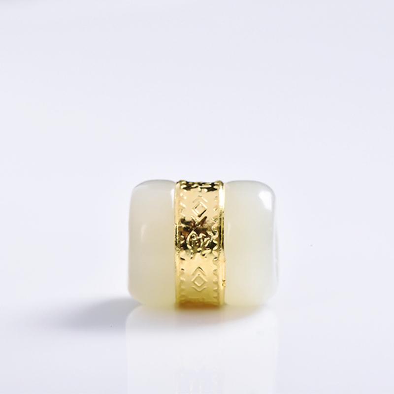 黄金珠宝路路通手链天然和田玉佩饰翡翠金镶玉吊坠首饰转运珠佩饰