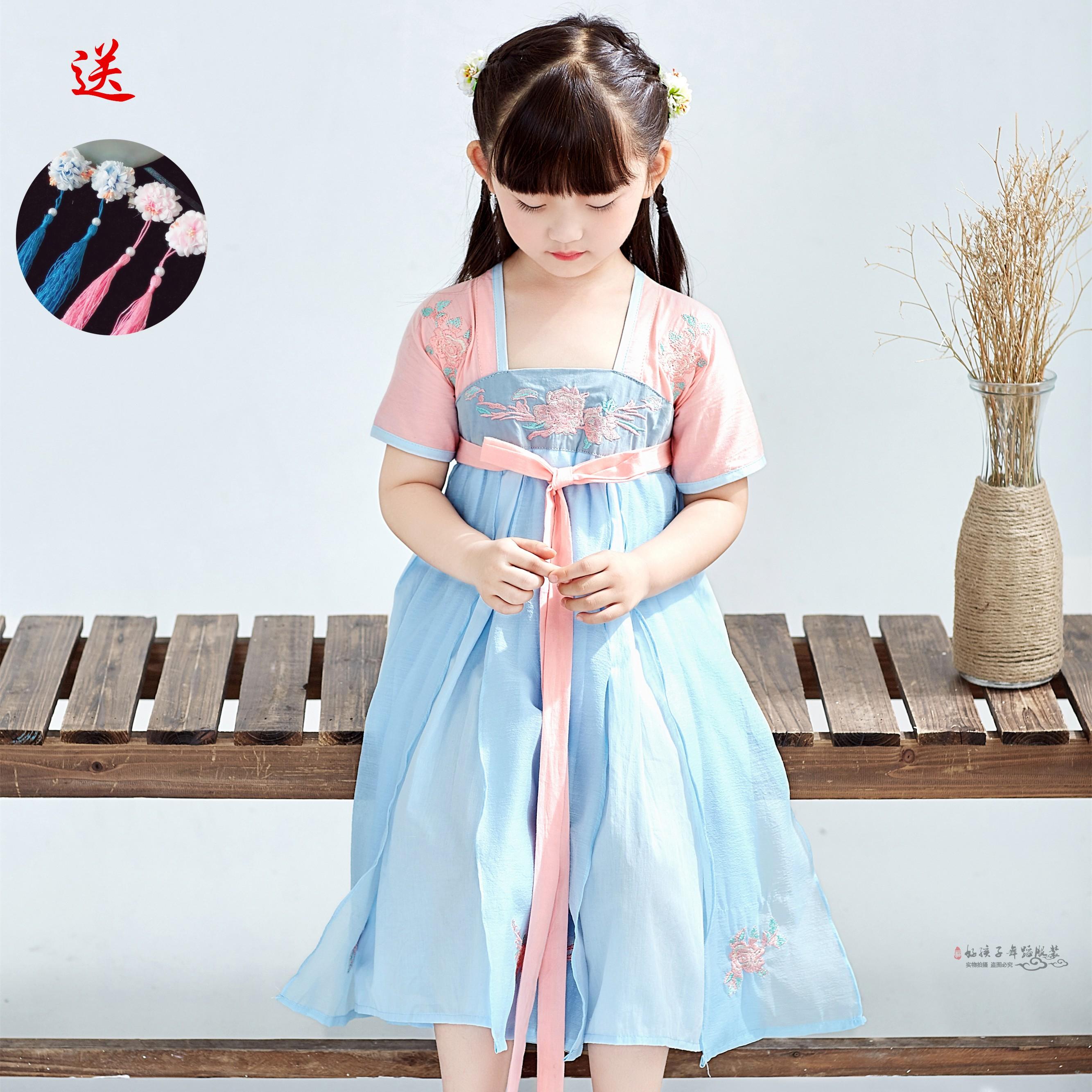 儿童汉服古装写真改良幼儿齐胸襦裙新短袖唐装宝宝连衣裙刺绣汉服