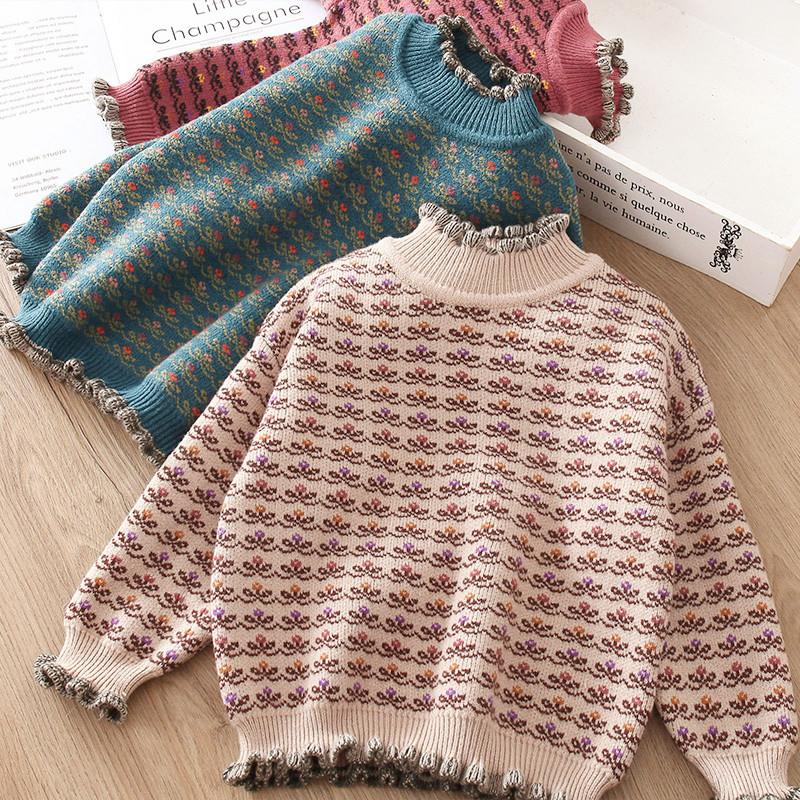 女童毛衣套头加绒加厚2020秋冬装新款洋气儿童装打底针织衫