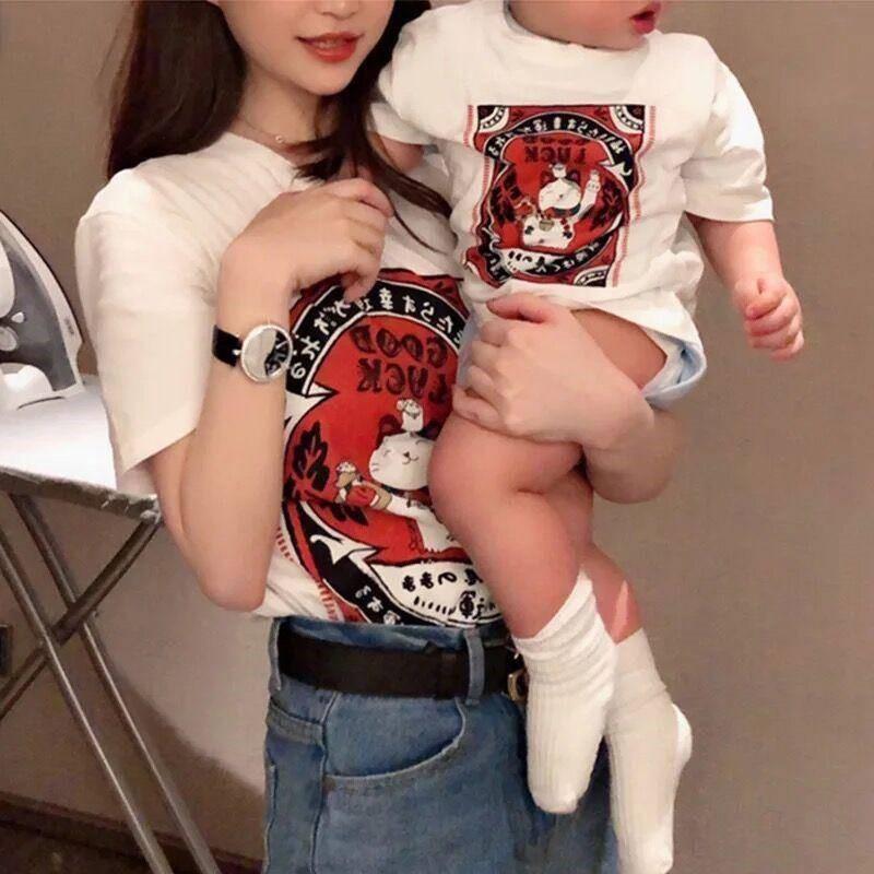 恤新款招财猫亲子装上衣夏装新款明星同款卡通印花儿童短袖2019T