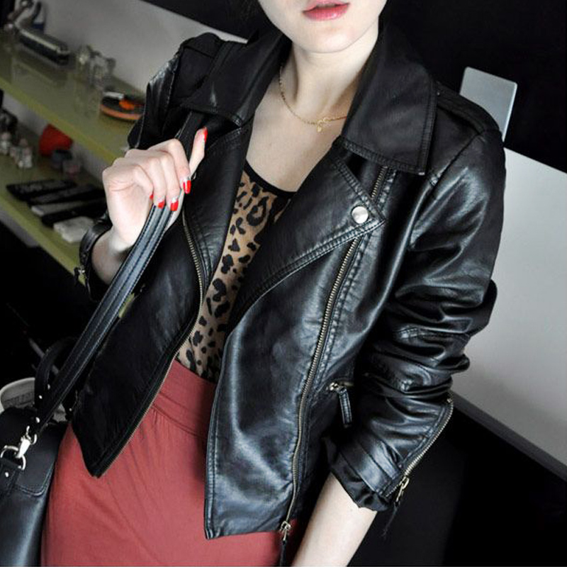 Spring new Korean small leather clothes womens short Pu locomotive Jacket Large womens fitted top suit coat