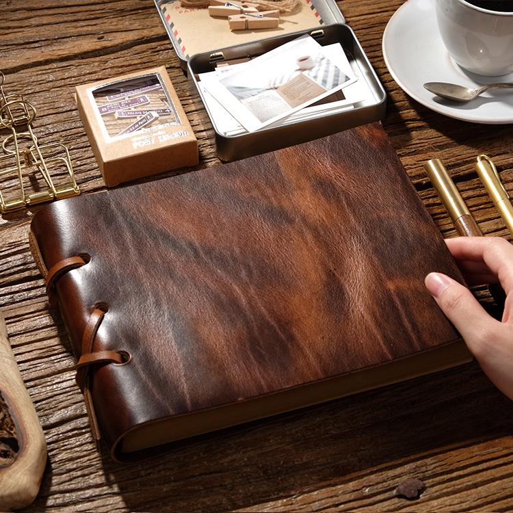 限时2件3折魔法本牛皮书日记本记事本加厚手帐相册绘画素描手绘本复古笔记本