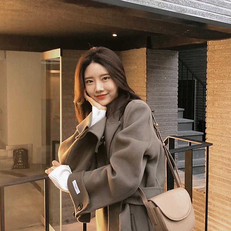 2019秋冬简约100%羊毛大衣双面呢子女装长款过膝宽松韩国羊绒外套