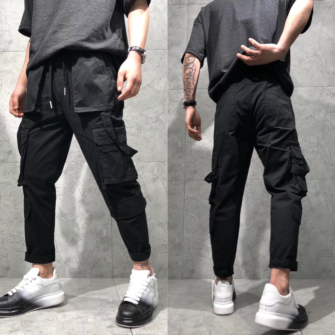 Spring and summer new Japanese overalls mens side Multi Pocket suspender washed loose micro span versatile Capris