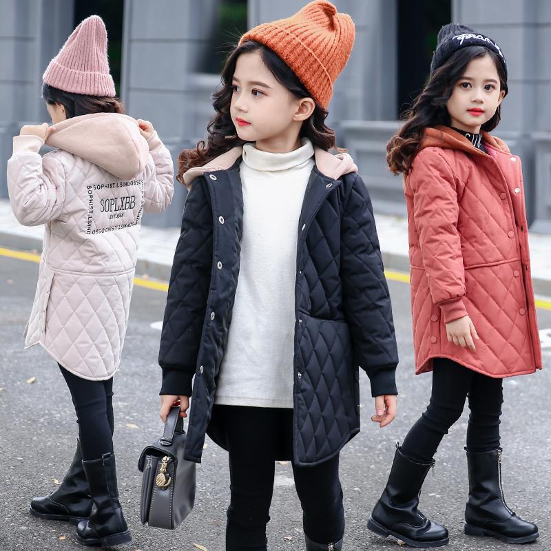 女童洋气棉衣2018新款冬装韩版中大童加厚外套棉服轻薄中长款棉袄