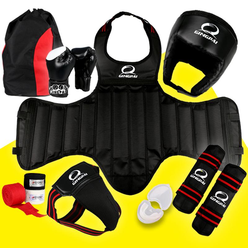 Сгущаться саньшоу (свободный спарринг) защитное снаряжение комплект ребенок для взрослых борьба забастовка тайский бокс обучение установите восемь частей кулак сочетание