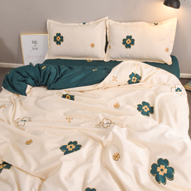 网红小清新四叶草被罩四件套1.8米cec被套单件床单宿舍单人三件套图片