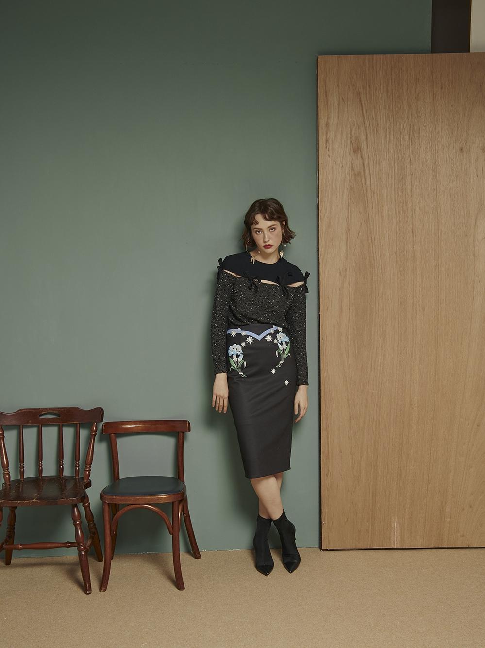 Labriells official store - Designer Manhattan Serenade print slit high waist pencil skirt Shunfeng package mail