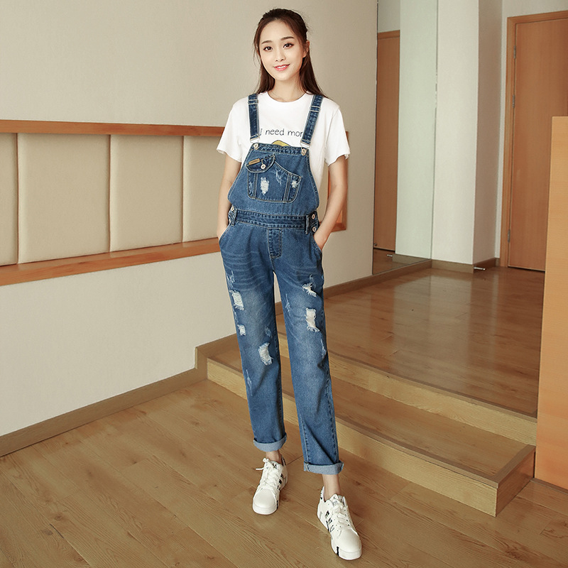 Spring and autumn Korean loose large size holed pregnant womens strap jeans