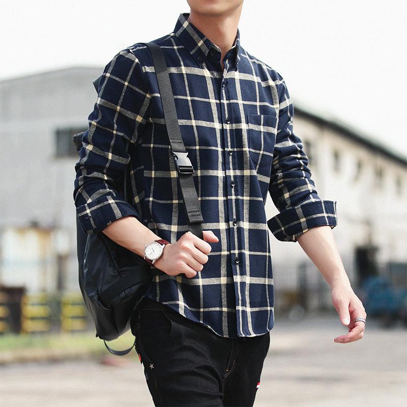 格子长袖翻领修身显瘦衬衫青年男式春夏新款纯棉衬衣男装打底衫