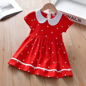 女童连衣裙夏季2021新款夏裙宝宝纯棉女孩儿童短袖洋气公主裙童装