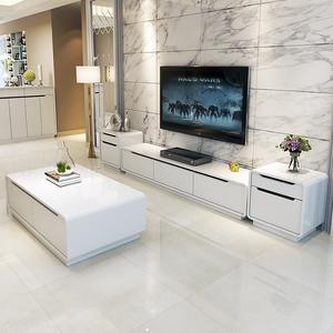 简约现代白色钢琴烤漆电视柜茶几小户型钢化玻璃实木客厅组合地