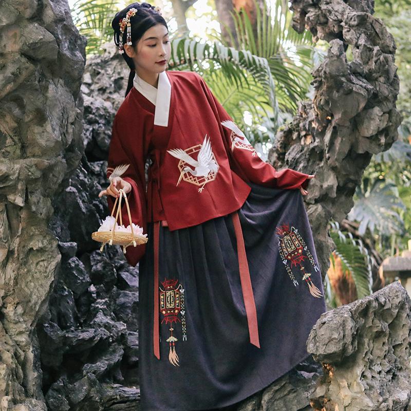 花笑汝/归去来兮/交领汉服琵琶袖明制袄裙红色长袄传统秋女一片式