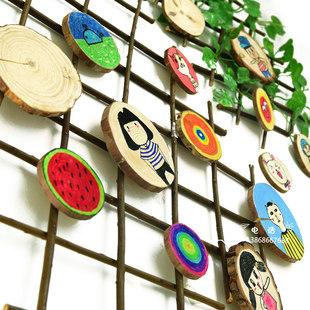 自然松木片田园风挂饰幼儿园美术白胚美劳涂鸦新品创意区角壁饰