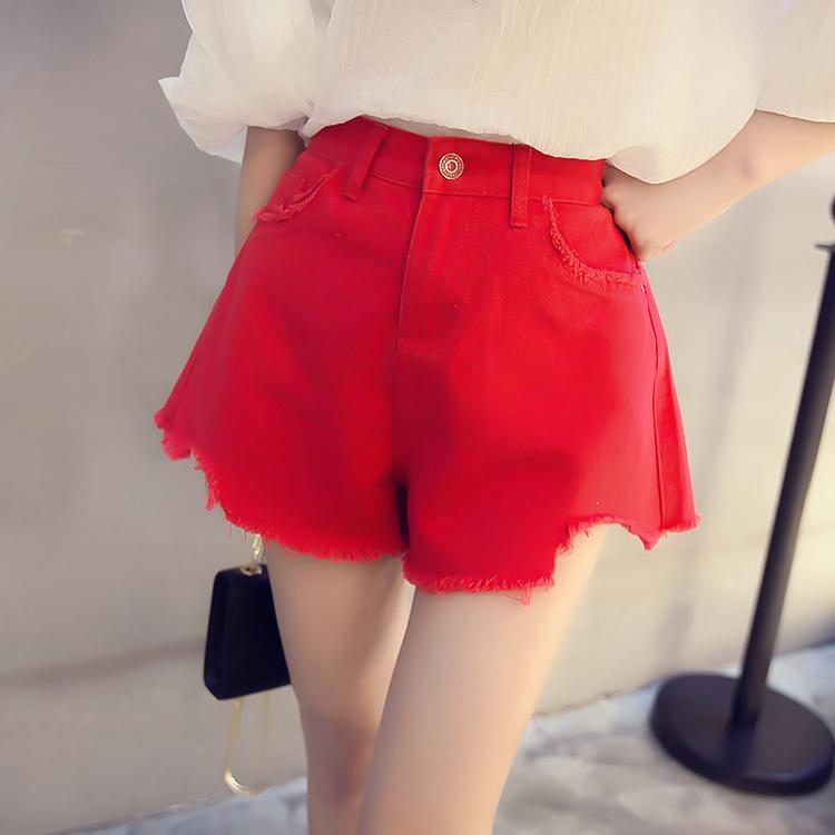 韩国18秋冬季新款牛仔短裤阔腿裤学生高腰百搭红色毛边牛仔裤热裤