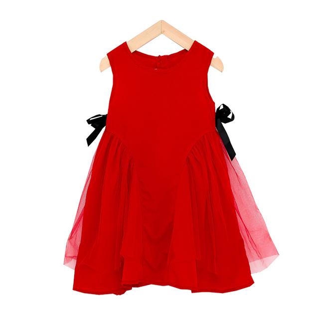小女孩侧边蝴蝶结织带连衣裙夏装2021新款洋气女童无袖网纱公主裙
