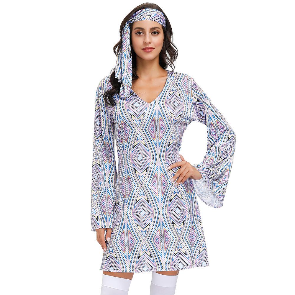 阿拉伯民族风cosplay服 复古70年代嬉皮士迪斯科表演服印花连衣裙