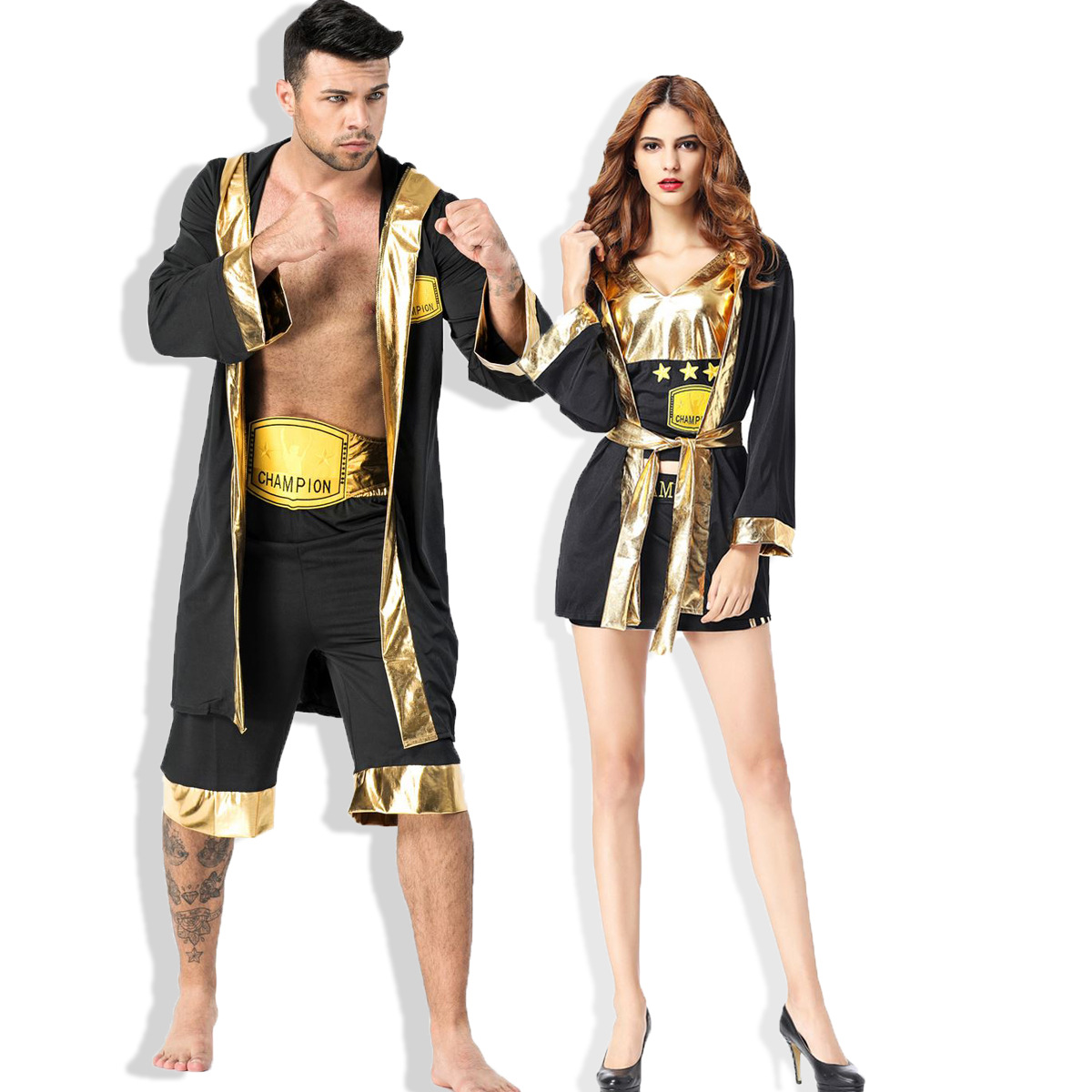 Mens and womens boxing champion cosplay costume cheerleader boxer couple suit