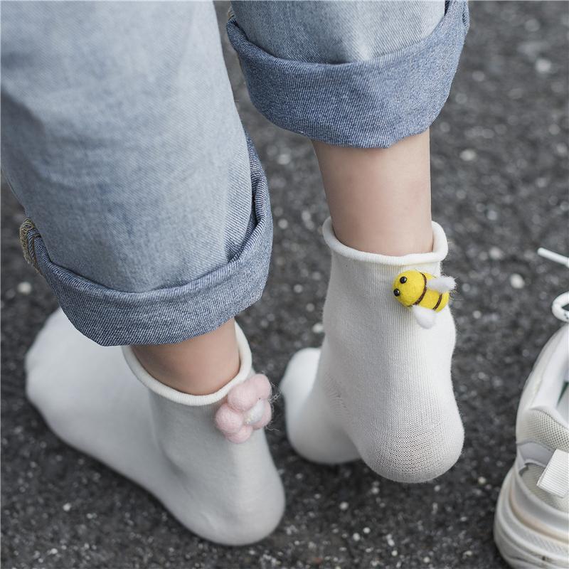 日系软妹袜子女短袜浅口韩国可爱3d立体卡通蜜蜂个性学院风袜子