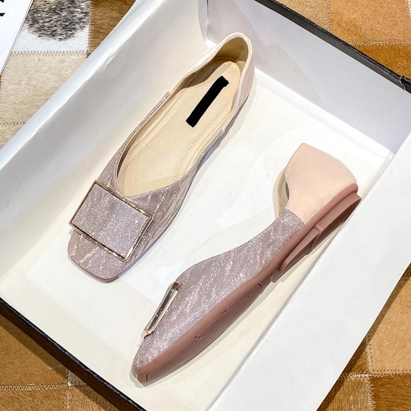 2021早春新款方头女鞋伴娘鞋日常可穿平底鞋软底百搭舒适豆豆单鞋