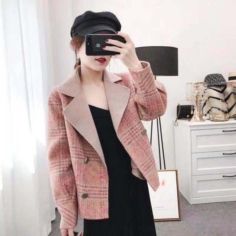 2019秋冬新款小香风短款羊毛大衣西装翻领格子毛呢外套女