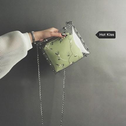 透明果冻小包女2019夏季新款潮韩版百搭蕾丝链条包仙女单肩斜挎包