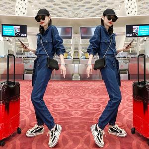 欧洲站女装2020新款春装欧货潮洋气高腰显瘦工装时尚牛仔连体裤女