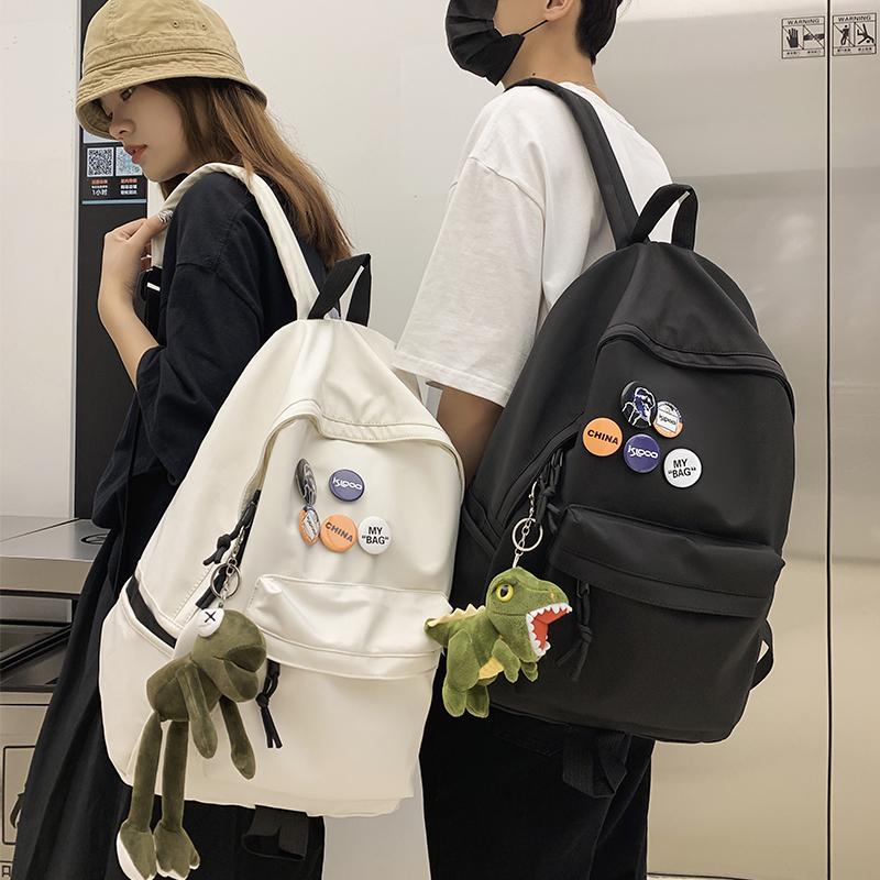 潮牌双肩包男士简约大容量旅行背包休闲日系初中生高中大学生书包