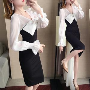 2020年春装新款女装韩版显瘦包臀黑白拼接礼服裙蝴蝶结连衣裙长款