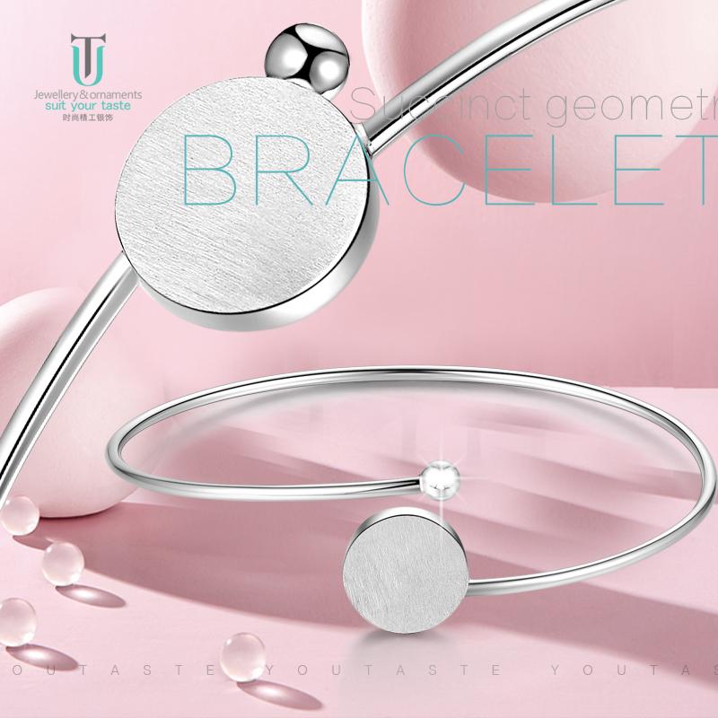 UT silver jewelry S925 silver wire drawing Bracelet round head geometric opening silver bracelet girls personality Design Bracelet