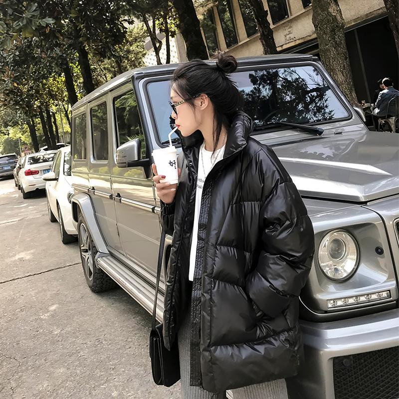 黑色立领羽绒棉衣女2021冬新款韩版棉服宽松bf学生ins超火面包服