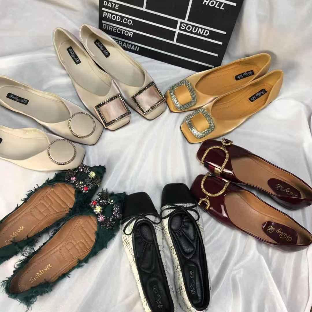 方扣带钻平底鞋毛毛鞋半托凉鞋拖鞋36.9元两对34.35.36码
