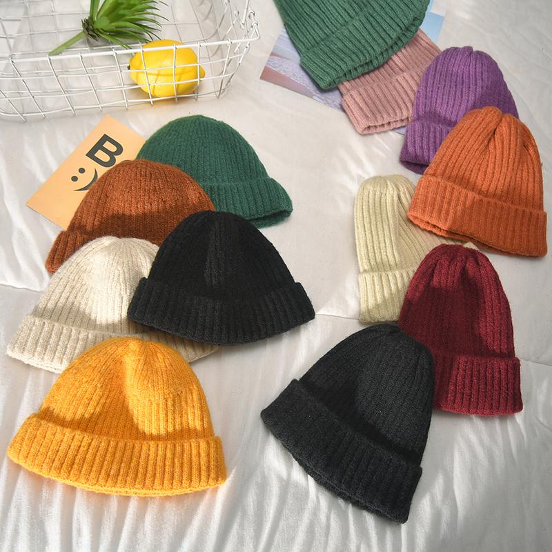 毛线帽针织帽子女秋冬天冬季韩版潮冷帽韩国时尚瓜皮雅痞帽男ins